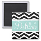 Black Mint Teal Chevron Custom Magnet