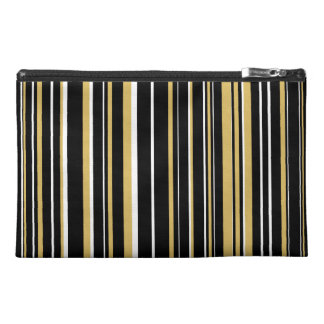 Black, Misted Yellow, White Barcode Stripe Travel Accessory Bag