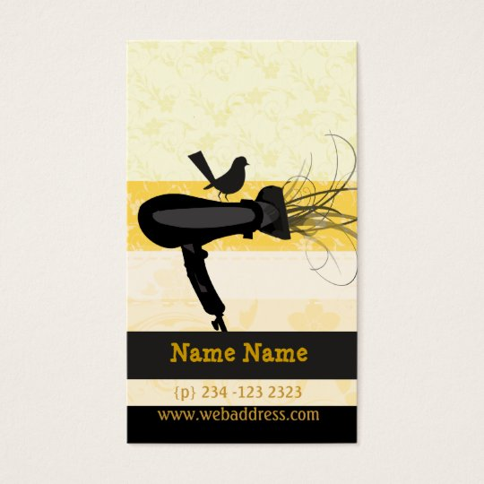 Black Mockingbird Beauty Spa Hairdryer Business Card