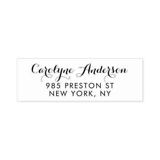 Black Modern Calligraphy Return Address Stamp