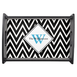 Black Modern Chevron Monogram Serving Tray