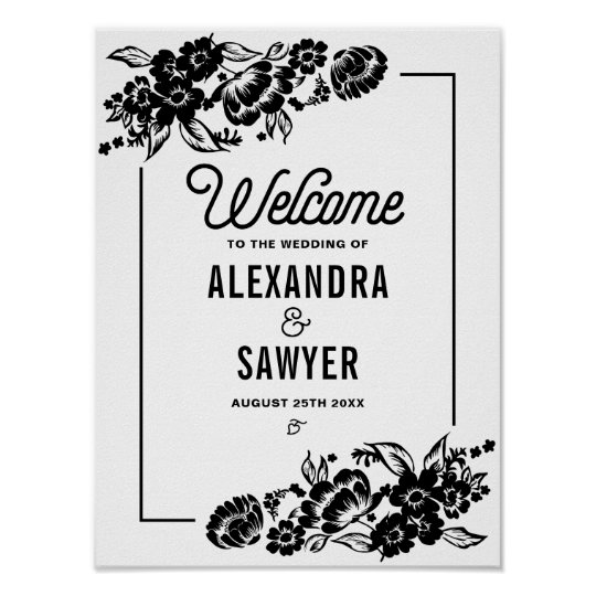 Black Modern Floral Accents Wedding Welcome Sign