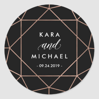 Black Modern Geometric Diamond Wedding Round Sticker