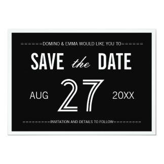 Black Modern Minimalist Save the Dates 13 Cm X 18 Cm Invitation Card
