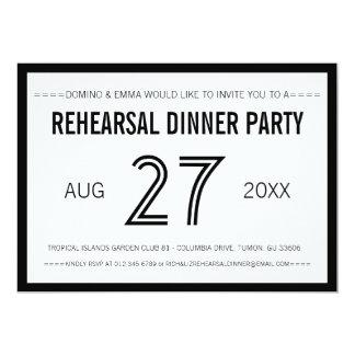 Black Modern Minimalist Wedding Rehearsal Dinner 13 Cm X 18 Cm Invitation Card
