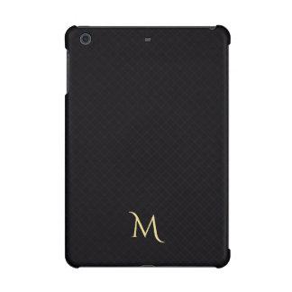 Black Modern Monogram Pattern iPad Mini Hard Case