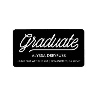 Black Modern Script Graduate Address Labels