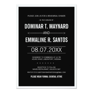 Black Modern Simple Wedding Rehearsal Dinner 13 Cm X 18 Cm Invitation Card