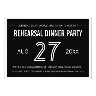 Black Modern Simple Wedding Rehearsal Dinner Card