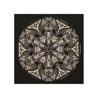 Black modern tribal abstract mandala art on wood