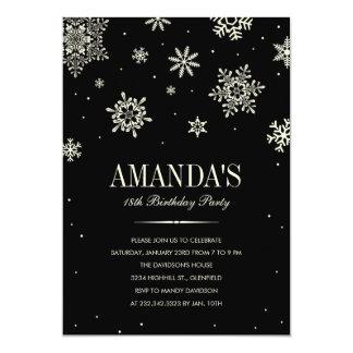 Black Modern Winter Wonderland Birthday Invitation