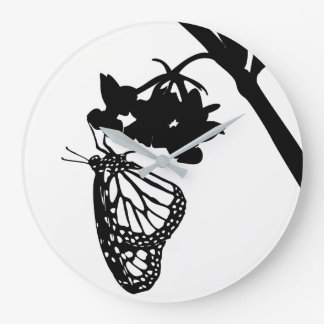 Black Monarch Butterfly Silhouette Large Clock