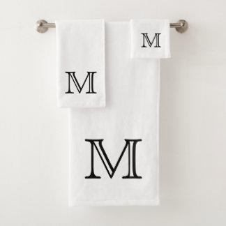 Black Monogram Bath Towel Set