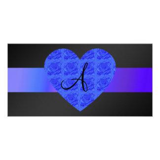 Black monogram blue roses personalized photo card