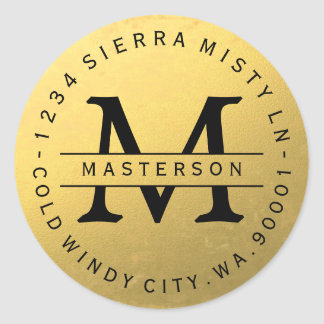 Black Monogram Gold Circular Return Address Label Round Sticker