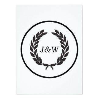 Black Monogram Laurel Wreath 14 Cm X 19 Cm Invitation Card