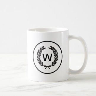 Black Monogram Laurel Wreath Basic White Mug
