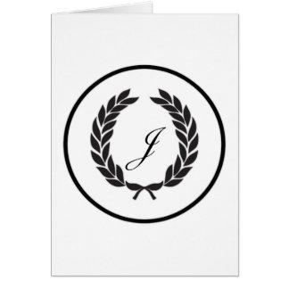 Black Monogram Laurel Wreath Greeting Card