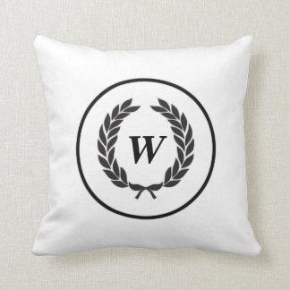 Black Monogram Laurel Wreath Throw Pillow