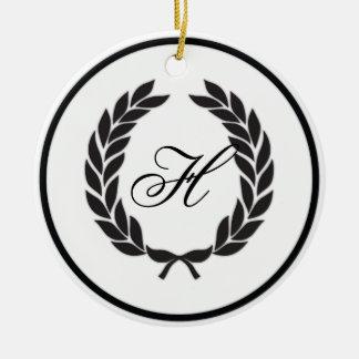 Black Monogram Laurel Wreath Ornament