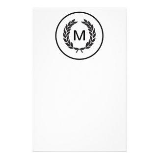 Black Monogram Laurel Wreath Personalized Flyer