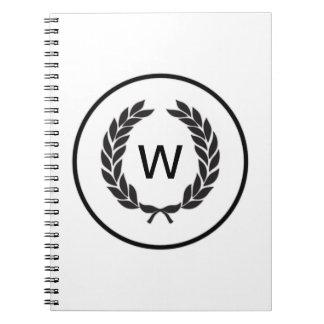 Black Monogram Laurel Wreath Spiral Notebook