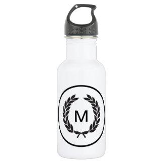 Black Monogram Laurel Wreath 532 Ml Water Bottle