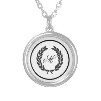 Black Monogram Laurel Wreath Round Pendant Necklace