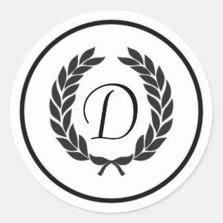 Black Monogram Laurel Wreath Round Sticker