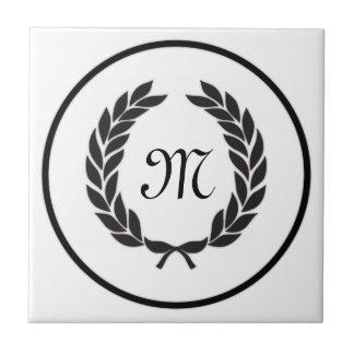 Black Monogram Laurel Wreath Ceramic Tiles