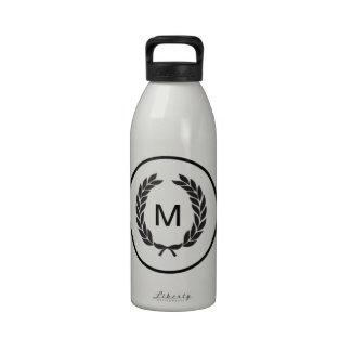 Black Monogram Laurel Wreath Water Bottle
