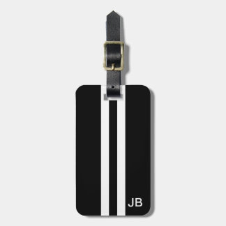Black Monogram Luggage Tag with White Stripes