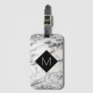 black monogram on faux white marble stone luggage tag