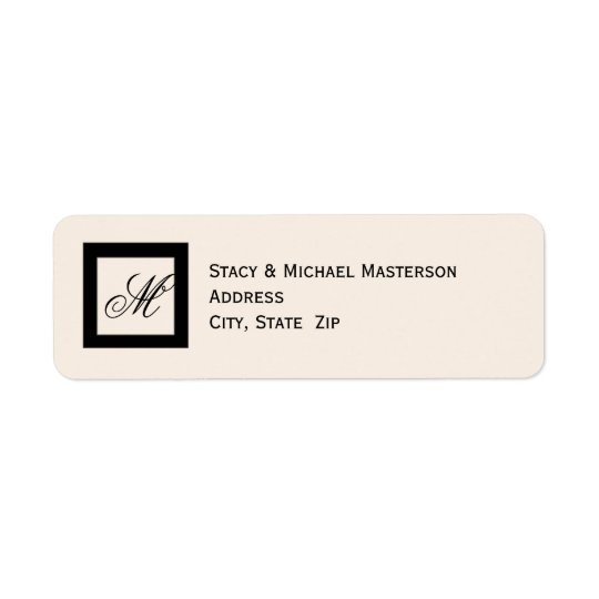 Black Monogram on Linen Colour Wedding Return Address Label