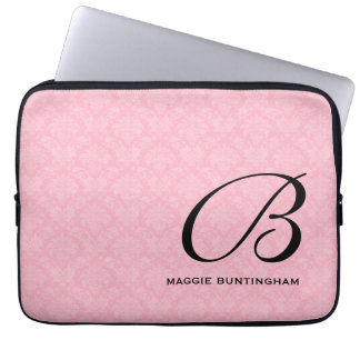 Black Monogram on Pink Damask Laptop Sleeve