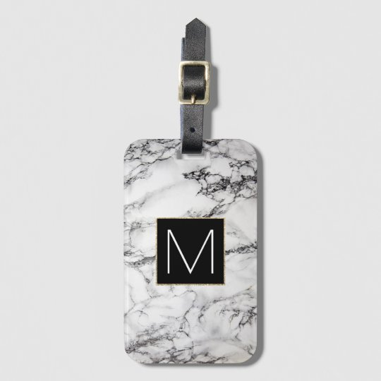 black monogram on white stone luggage tag