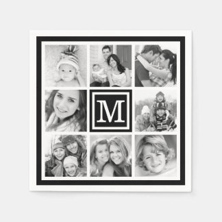 Black Monogram Photo Collage Disposable Napkins