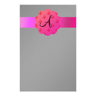 Black monogram pink butterflies customized stationery