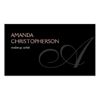 Black Monogram Script Makeup Artist Business Card