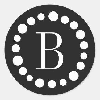 Black Monogram Stickers - White Polka Dots