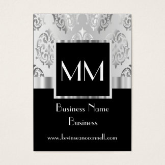Black monogrammed damask business card