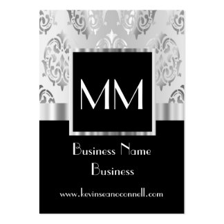 Black monogrammed damask pack of chubby business cards