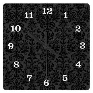 Black Monotones  Vintage Floral Damasks Square Wall Clocks