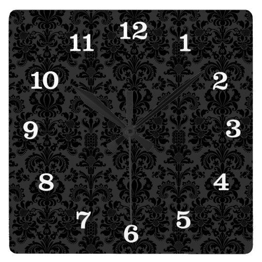 Black Monotones Vintage Floral Damasks Square Wall Clock