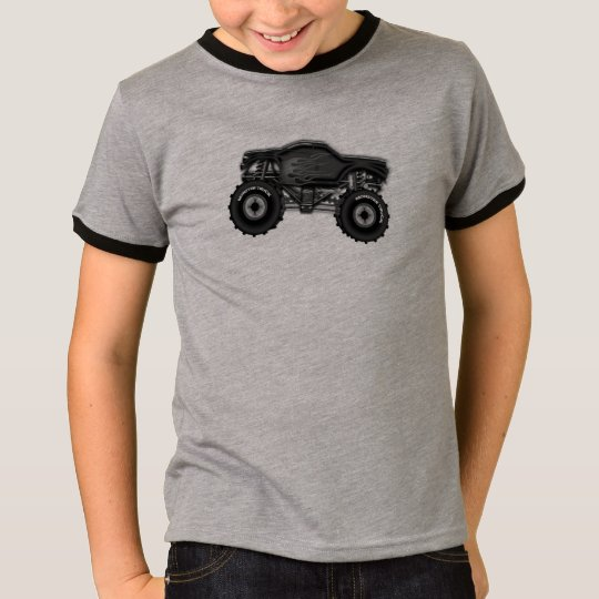 Black Monster Truck with Flames Tshirt for Boys