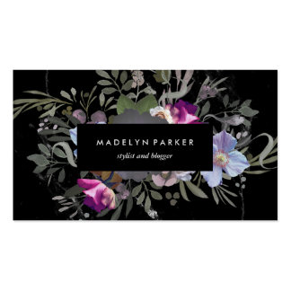 Black Moody Floral Pack Of Standard Business Cards