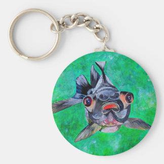 Black Moor Goldfish Basic Round Button Key Ring