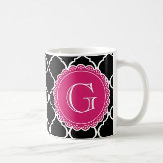 Black Moroccan Lattice Pattern Hot Pink Monogram Basic White Mug