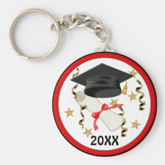 Black Mortar and Diploma Graduation Basic Round Button Key Ring