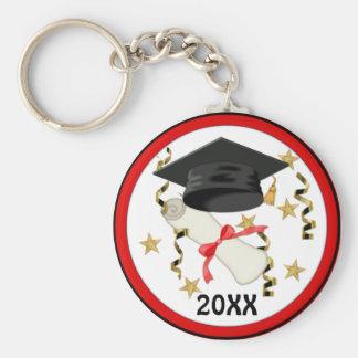 Black Mortar and Diploma Graduation Key Ring